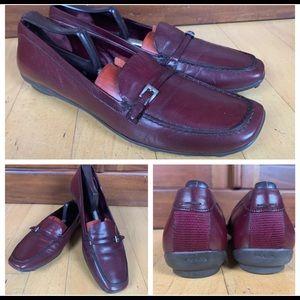 PRADA Burgundy Leather Loafers Moccasins Size 40